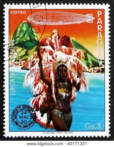 Postage stamp Paraguay 1977 Dancer, Rio de Janeiro, Brazil