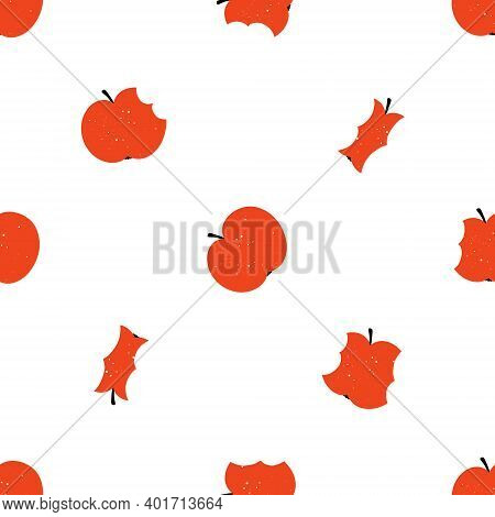 Cute Bitten Apples Seamless Pattern With Texture Isolated On White Background. Doodle Hand Drawn Sca
