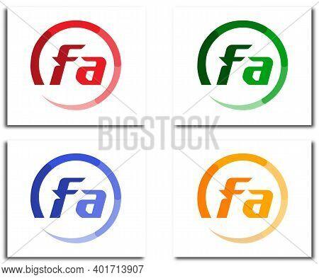 Fa Alphabet Circle Logo Design Company Concept