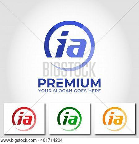 Ia Alphabet Circle Logo Design Company Concept