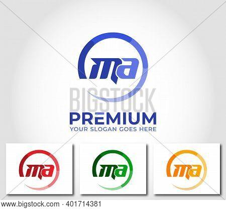 Ma Alphabet Circle Logo Design Company Concept