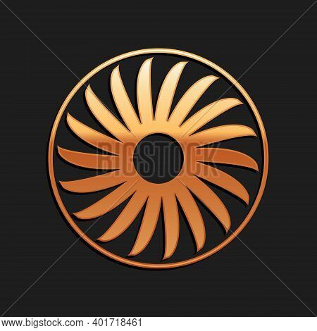 Gold Ventilator Symbol Icon Isolated On Black Background. Ventilation Sign. Long Shadow Style. Vecto