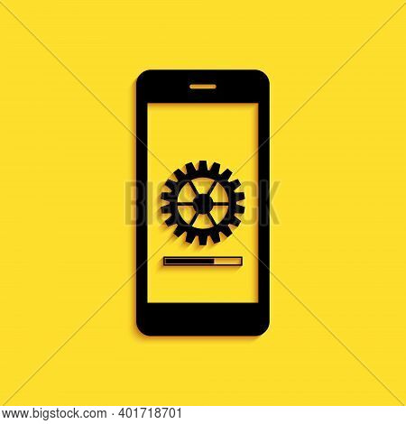 Black Smartphone Update Process With Gearbox Progress And Loading Bar Icon Isolated On Yellow Backgr