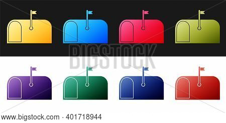 Set Mail Box Icon Isolated On Black And White Background. Mailbox Icon. Mail Postbox On Pole With Fl
