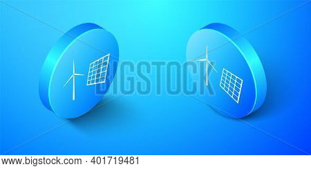 Isometric Wind Mill Turbines Generating Electricity And Solar Panel Icon Isolated On Blue Background