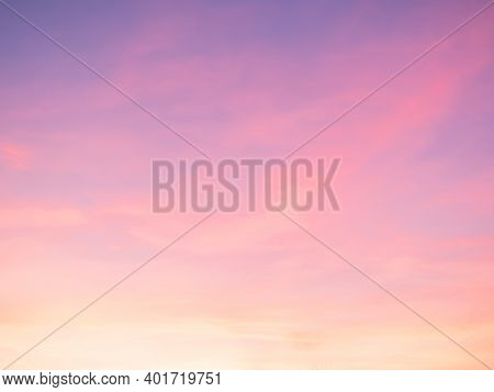 Majestic Dusk. Sunset Sky Twilight In The Evening With Colorful Sunlight. Pastel Colors. Abstract Na