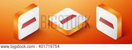 Isometric Striped Awning Icon Isolated On Orange Background. Outdoor Sunshade Sign. Awning Canopy Fo
