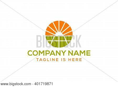 Solar Energy Logo Design. Solar Panel Energy Electric Electricity Logo Design Vector Template