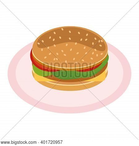 Hamburger On A Plate With Cheese, Tomato, Salad, Burgers, Buns And Sesame Icon. Vector Flat. America