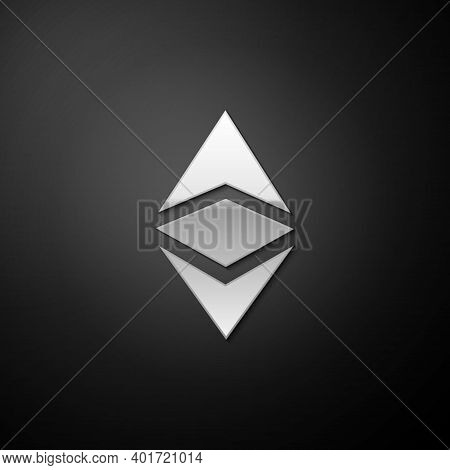 Silver Cryptocurrency Coin Ethereum Classic Etc Icon Isolated On Black Background. Digital Currency.