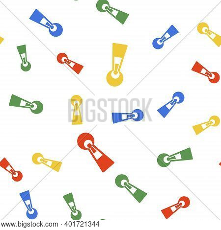 Color Keyhole Icon Isolated Seamless Pattern On White Background. Key Of Success Solution. Keyhole E