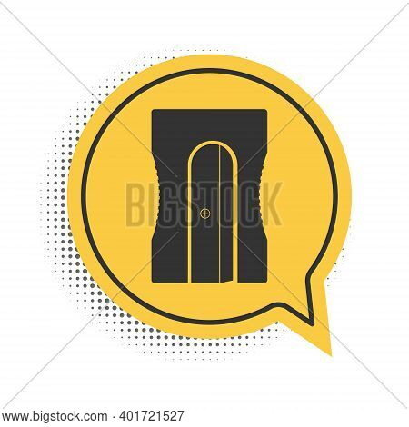 Black Pencil Sharpener Icon Isolated On White Background. Yellow Speech Bubble Symbol. Vector