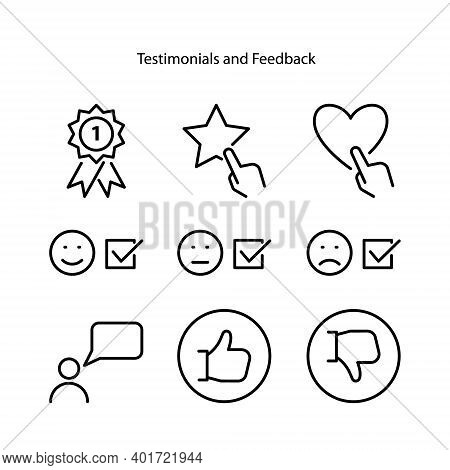 Testimonial Icon Set Isolated On White Background From Finance And Business Collection. Testimonial