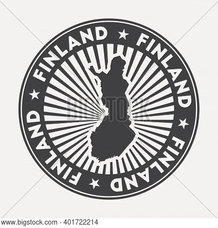 Finland Round Logo. Vintage Travel Badge With The Circular Name And Map Of Country, Vector Illustrat