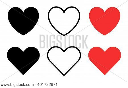 Heart Icons. Vector Hearts For Social Chat, Stream, Video, Valentine, Like And Business. Like Concep