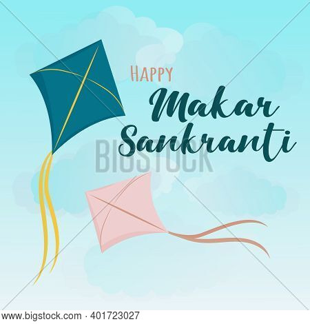 Happy Makar Sankranti Greeting Card Design With Illustration Of Bright Colorful Blue And Pink Kites