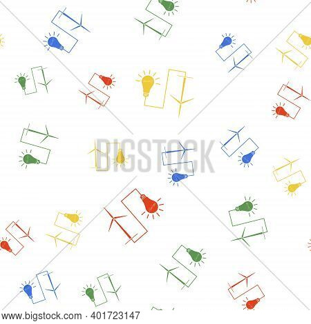 Color Wind Mill Turbine Generating Power Energy And Light Bulb Icon Isolated Seamless Pattern On Whi