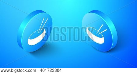 Isometric Bowl With Asian Food And Pair Of Chopsticks Silhouette Icon Isolated On Blue Background. C