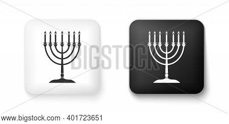 Black And White Hanukkah Menorah Icon Isolated On White Background. Religion Icon. Hanukkah Traditio