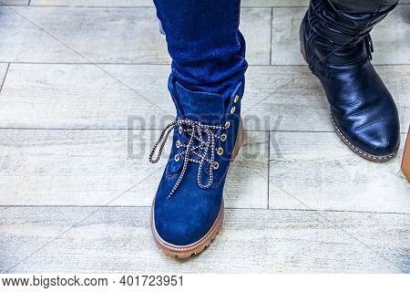 Cropped View Of Female Legs In Boots  , Blue Boot Shoes