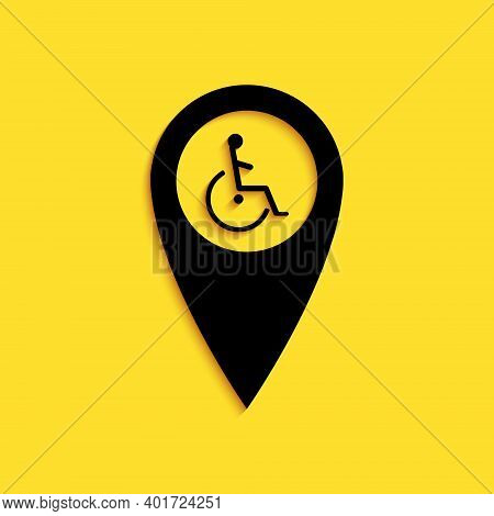 Black Disabled Handicap In Map Pointer Icon Isolated On Yellow Background. Invalid Symbol. Wheelchai