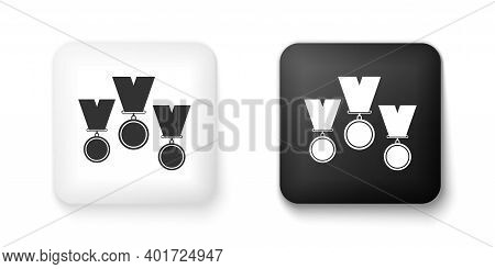 Black And White Medal Set Icon Isolated On White Background. Winner Simbol. Square Button. Vector