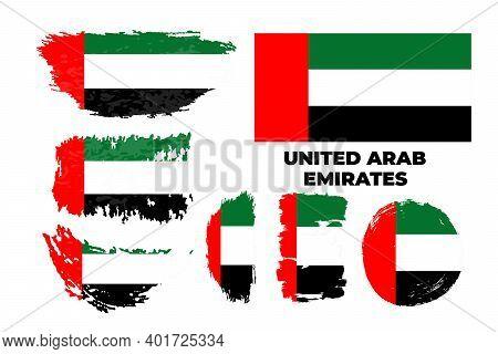United Arab Emirates Flag. Brush Painted Flag Of Uae.