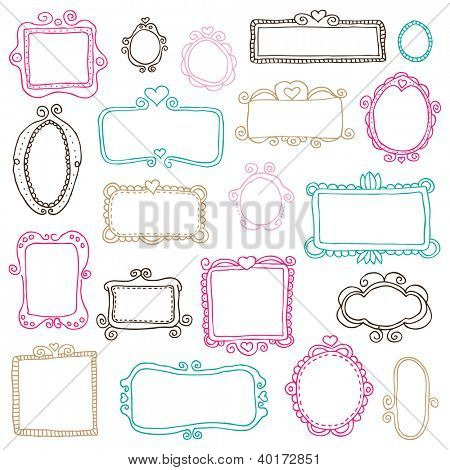 Victorian ornaments photo frames illustrations in vector