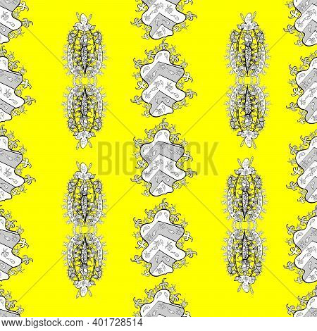 Seamless Pattern With White Floral Doodles On Colorful Background