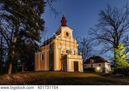 Pilgrimage Church Of John Of Nepomuk In A Small Czech Village Called Svaty Jan, Central Bohemia. Eve