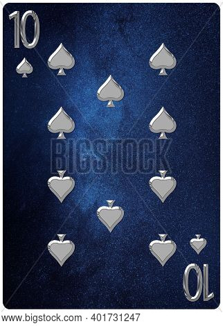 Ten Of Spades Playing Card, Space Background, Gold Silver Symbols, With Clipping Path.