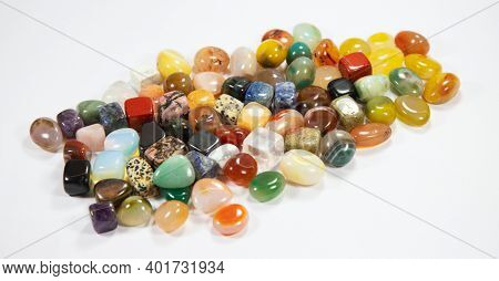 Collection of the semi precious szones on the white background