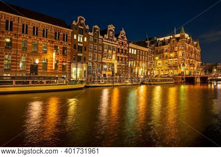 City scenic from Amsterdam by night in christmas time in the Netherlands