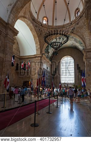 Santo Domingo,  Dominican Republic - January 11, 2017: Tourists Are Inside The National Pantheon Of