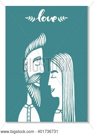 Cards Of Cute Couple. Doodle. Vector Illustration Hand Drawn Cartoon Character. Hipster Man With Mus