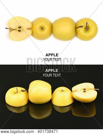 Creative Layout Made Of Yellow Apple. Food Concept. High Resolution Photo. Full Depth Of Field.