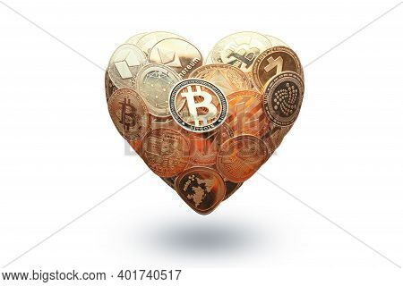 Heart Shaped Made With Cryptocurrency Coins. Happy Valentines Day Symbol. Love Bitcoin Concept. Inve