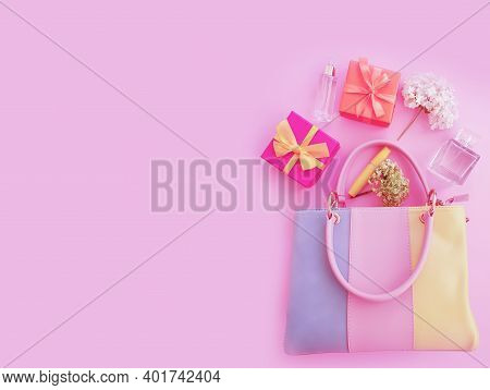 Women Bag, Cosmetics On A Colored Background