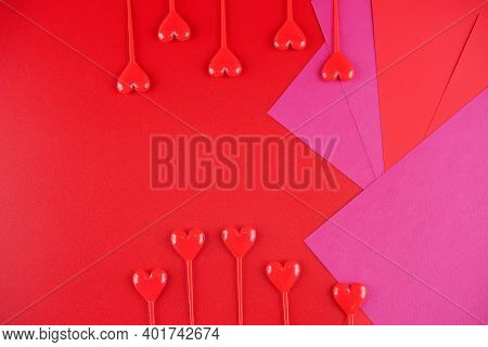 Red Background With Red Hearts For Valentine's Day