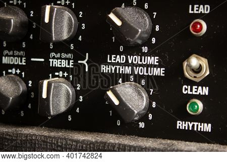 Buttons, Knobs And Lights Of A Guitar Amplifier