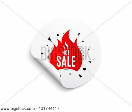 Hot Sale Banner. Circle Sticker With Offer Banner. Discount Sticker Shape. Coupon Tag Icon. Round St