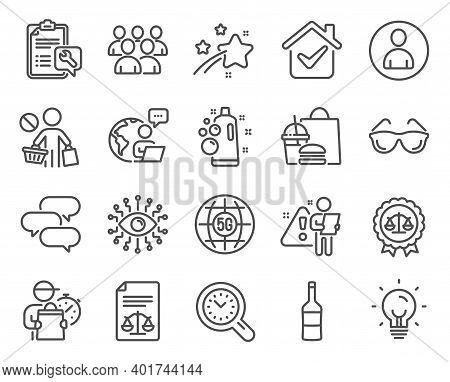 Business Icons Set. Included Icon As Artificial Intelligence, 5g Internet, Eyeglasses Signs. Justice