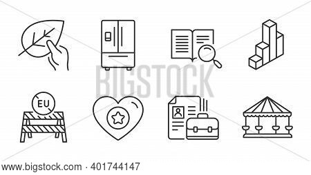 Organic Tested, 3d Chart And Vacancy Line Icons Set. Heart, Search Text And Refrigerator Signs. Eu C