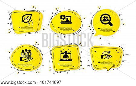 Organic Tested, Search Employees And Best Buyers Icons Simple Set. Yellow Speech Bubbles With Dotwor