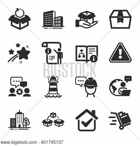 Set Of Industrial Icons, Such As Lighthouse, Return Package, Engineering Team Symbols. Manual Doc, H