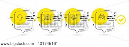 Leaf, Typewriter And Upload Line Icons Set. Timeline Infograph Speech Bubble. Mail Correspondence Si