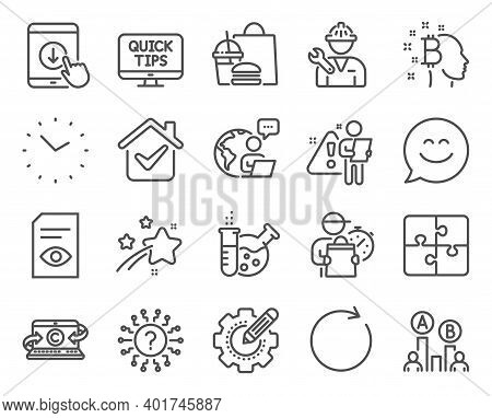 Technology Icons Set. Included Icon As Ab Testing, Puzzle, Smile Chat Signs. Chemistry Lab, Repairma