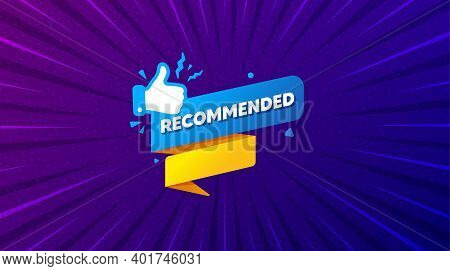 Recommended Paper Banner. Purple Background With Offer Message. Best Deal Tag. Bubble With Thumbs Up