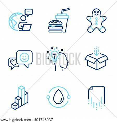 Business Icons Set. Included Icon As Get Box, Gingerbread Man, Recovery File Signs. 3d Chart, Hambur