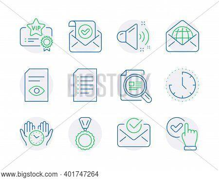 Education Icons Set. Included Icon As Document, Time, Medal Signs. Approved Mail, View Document, Web